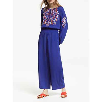 Boden Natalie Embroidered Jumpsuit, Lapis