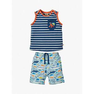 Frugi Baby Organic Cotton Summertime Vest and Shorts Set, Multi