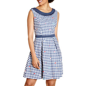 Yumi Travel Print Gingham Dress, Navy